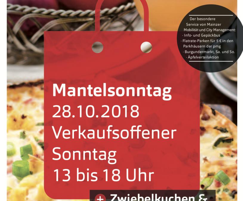Verkaufsoffener Mantelsonntag am 28.10.2018 I Zwiebelkuchen- und Federweißerfest I Burgundermarkt