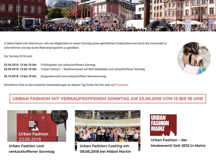 Verkaufsoffene Sonntage in Mainz  I  neue Website